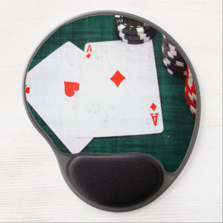 Playing Cards & Poker Chips Grunge Style Gel Mouse Mat