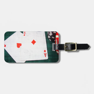 Playing Cards & Poker Chips Grunge Style Luggage Tag
