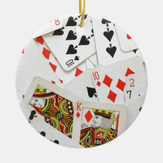 Playing Cards Round Ceramic Decoration