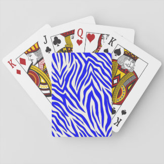 Playing cards with cobalt zebra design