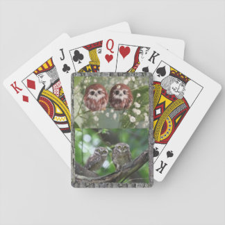 Playing cards with four adorable owlets
