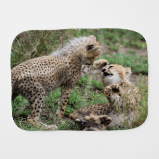 Playing Cheetah Cubs Burp Cloth