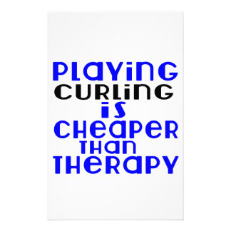 Playing Curling Cheaper Than Therapy Personalised Stationery