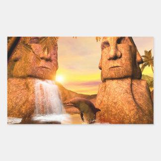 Playing dolhin in the sunset rectangular sticker