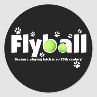 Playing Fetch is 20th Century Flyball Classic Round Sticker