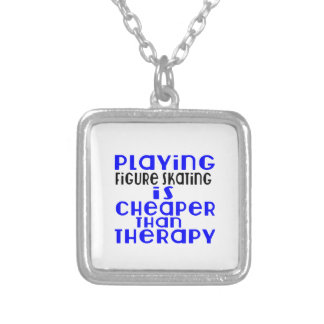 Playing Figure Skating Cheaper Than Therapy Silver Plated Necklace