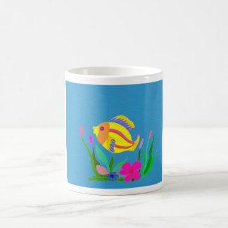 Playing fish basic white mug