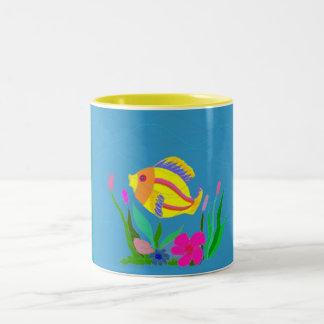 Playing fish Two-Tone mug