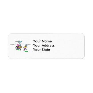 playing football kids return address label