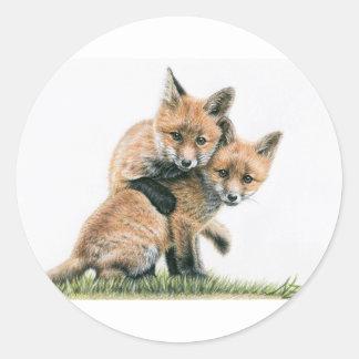 Playing Fox kids Round Sticker