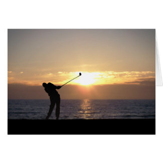 Playing Golf At Sunset Card