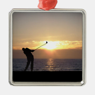 Playing Golf At Sunset Christmas Ornament