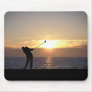 Playing Golf At Sunset Mouse Mat