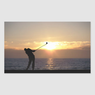 Playing Golf At Sunset Rectangular Sticker