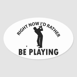 Playing  golf oval sticker