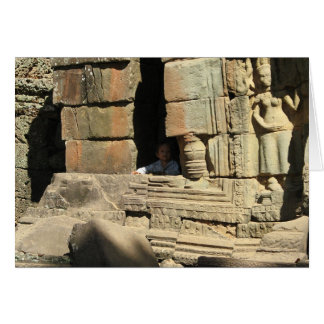 Playing in the Ruins ... Ta Prohm, Cambodia Greeting Card