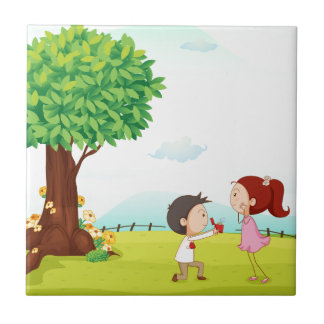 playing kids small square tile