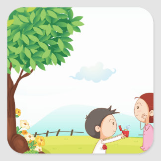 playing kids square sticker