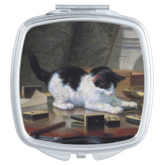 Playing Kitten by Henriëtte Ronner-Knip Travel Mirror