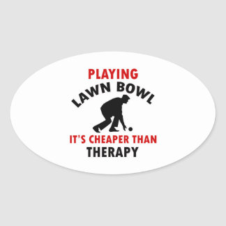 playing Lawn Bowl design Oval Sticker