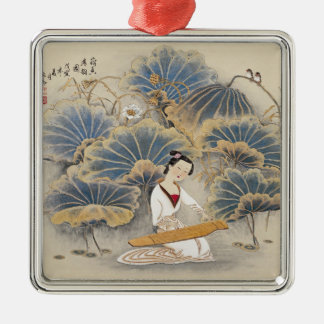 Playing Music by Lotus Pond Silver-Colored Square Decoration