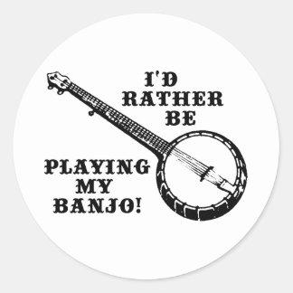 Playing My Banjo Round Sticker