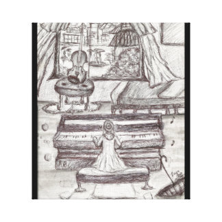 Playing Piano on a rainy day Pen Drawing Canvas Print
