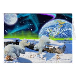 Playing Polar Bear Cubs & Aurora Art Card