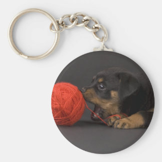 Playing Puppy 4 Key Ring
