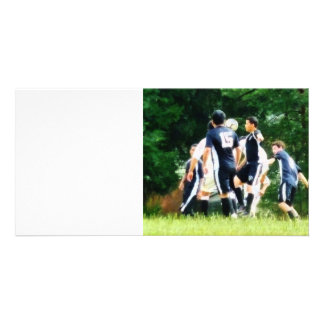 Playing Soccer Customized Photo Card