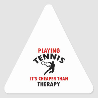 playing Tennis is cheaper Triangle Stickers