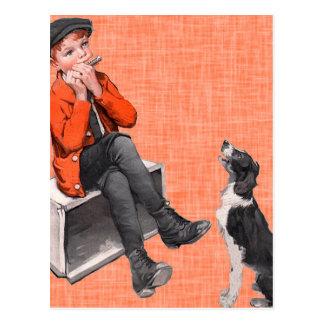 Playing The Harmonica Postcard