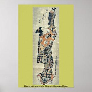 Playing with a puppet by Okumura, Masanobu Ukiyoe Poster