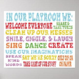 Playroom Rules Poster Rainbow Watercolor