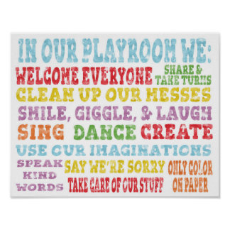 Playroom Rules Poster Rainbow Watercolor