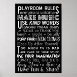Playroom Rules Subway Art Poster