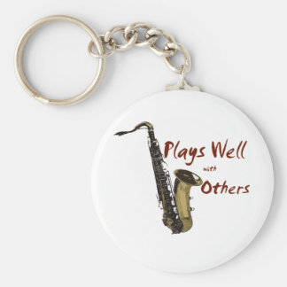 Plays Well Saxophone Key Ring