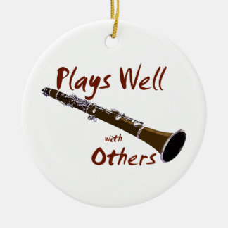 Plays Well with Others Clarinet Round Ceramic Decoration
