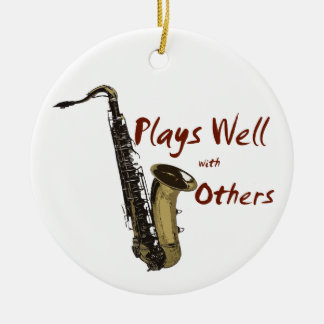 Plays Well with Others Saxophone Round Ceramic Decoration