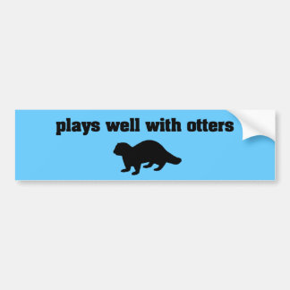 Plays Well With Otters Bumper Sticker