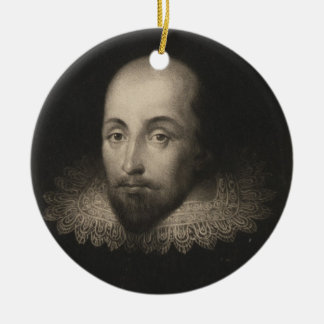 Playwright William Shakespeare by Cornelius Jansen Christmas Ornament