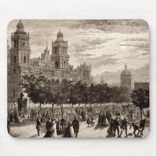 Plaza Constitucion Cathedral Mexico City Vintage Mouse Pad