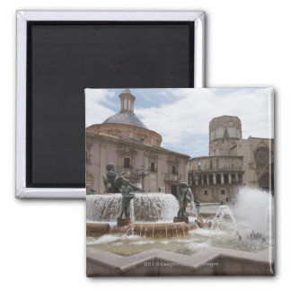 Plaza De La Virgin And Basilica De Virgen Square Magnet