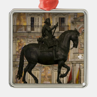 Plaza Mayor with statue of Filipe III, Madrid, Christmas Ornament