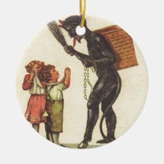 Pleading With Krampus Round Ceramic Decoration