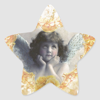 Pleasance - Angel in a Yellow Heart Star Sticker