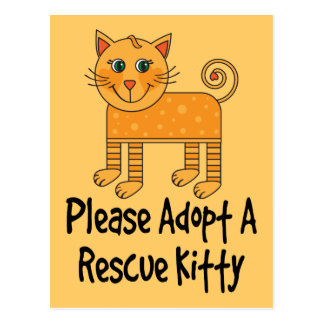 Please Adopt A Rescue Kitty Cat Gift Postcard