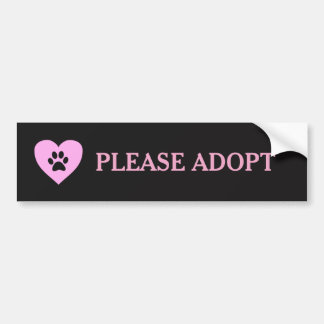 """Please Adopt"" Animal Bumper Sticker"