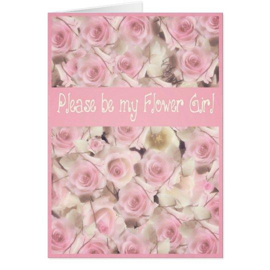please be my flower girl pink roses wedding card