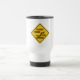 Please Brake For Snakes, Traffic Sign, Canada 15 Oz Stainless Steel Travel Mug